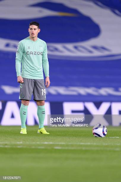James Rodriguez of Everton prepares to take a free kick during the Premier League match between Brighton and Hove Albion and Everton at the American...