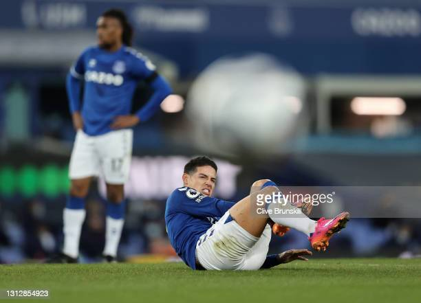 James Rodriguez of Everton reacts during the Premier League match between Everton and Tottenham Hotspur at Goodison Park on April 16, 2021 in...