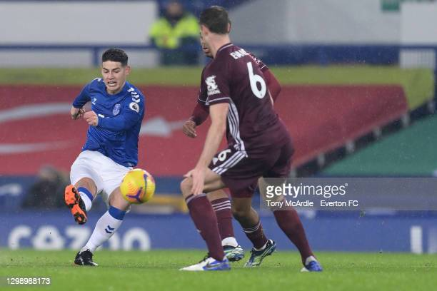 James Rodriguez of Everton shoots to score during the Premier League match between Everton and Leicester City at Goodison Park on January 27 2021 in...