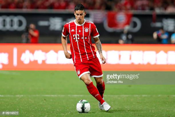 James Rodriguez of FC Bayern controls the ball during the 2017 International Champions Cup China match between FC Bayern and Arsenal FC at Shanghai...