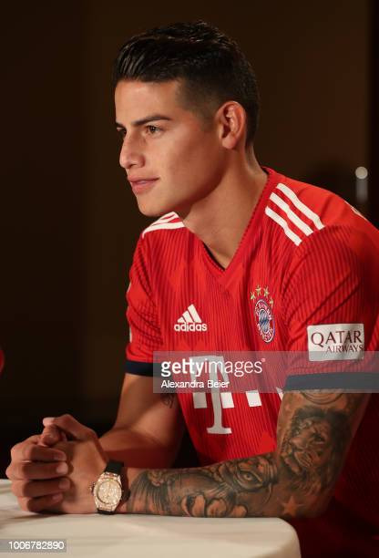 James Rodriguez of FC Bayern Muenchen addresses a press conference during the FC Bayern AUDI Summer Tour on July 27 2018 at Mandarin Oriental hotel...