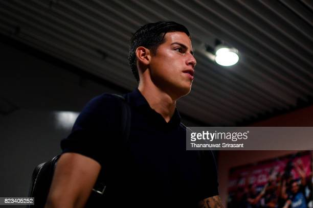 James Rodriguez of FC Bayern Muenchen arrives during the International Champions Cup match between FC Bayern Munich and FC Internazionale at National...
