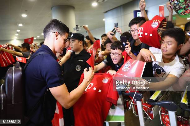 James Rodriguez of FC Bayern Muenchen arrives with the team at Shanghai Pudong International Airport for the Audi Summer Tour 2017 on July 17 2017 in...