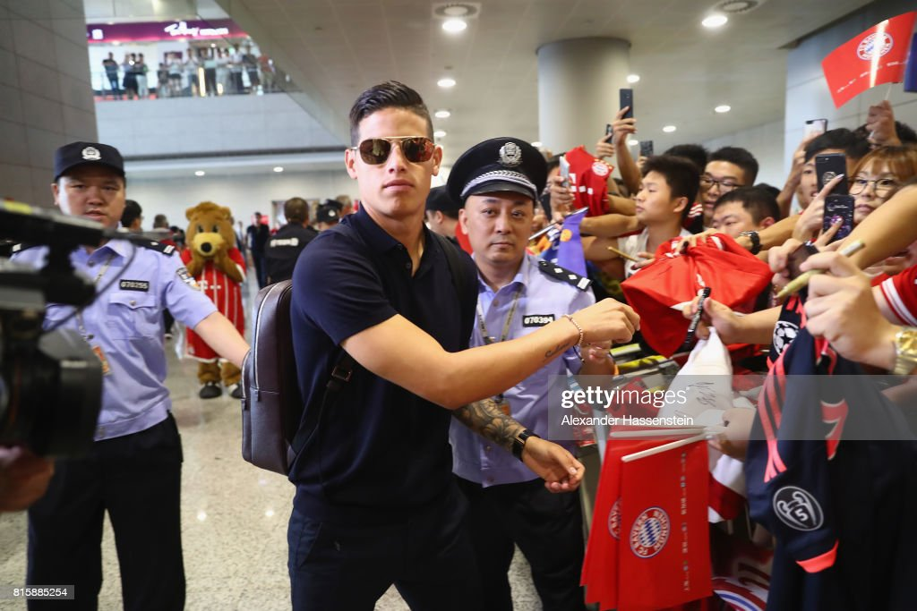 James Rodriguez of FC Bayern Muenchen arrives with the team at Shanghai Pudong International Airport for the Audi Summer Tour 2017 on July 17, 2017 in Shanghai, China.