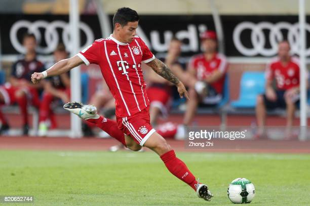 James Rodriguez of FC Bayern Muenchen attempts a shot during the 2017 International Champions Cup football match between AC Milan and FC Bayern...
