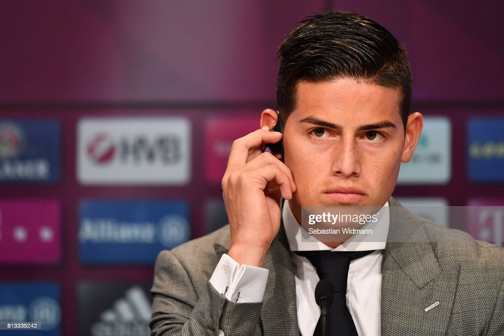 James Rodriguez of FC Bayern Muenchen attends a press conference at Allianz Arena on July 12, 2017 in Munich, Germany.