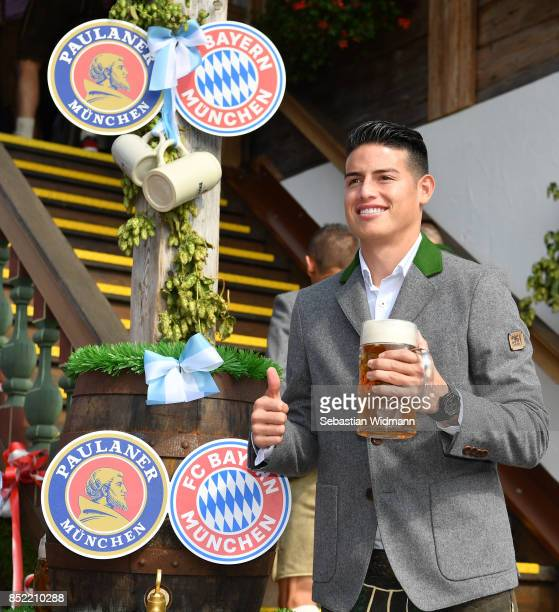 James Rodriguez of FC Bayern Muenchen atttends the Oktoberfest beer festival at Kaefer Wiesnschaenke tent at Theresienwiese on September 23 2017 in...