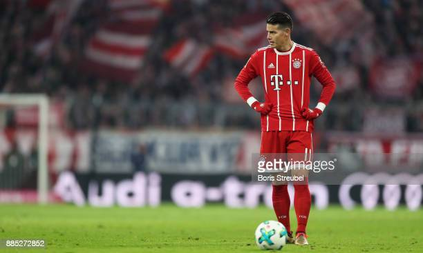 James Rodriguez of FC Bayern Muenchen concentrates for a free kick during the Bundesliga match between FC Bayern Muenchen and Hannover 96 at Allianz...