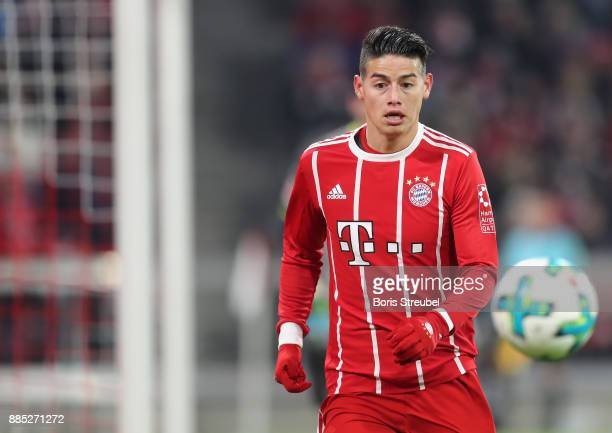 James Rodriguez of FC Bayern Muenchen controls the ball during the Bundesliga match between FC Bayern Muenchen and Hannover 96 at Allianz Arena on...