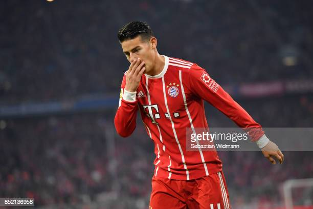 James Rodriguez of FC Bayern Muenchen gestures during the Bundesliga match between FC Bayern Muenchen and VfL Wolfsburg at Allianz Arena on September...