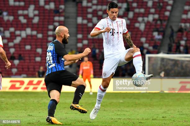 James Rodriguez of FC Bayern Muenchen holds the ball during the International Champions Cup match between FC Bayern Munich and FC Internazionale at...