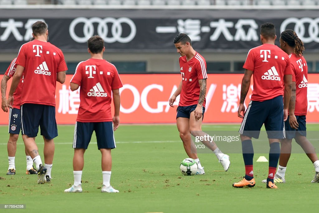 James Rodriguez (C) of FC Bayern Muenchen in action during a training session ahead of 2017 International Champions Cup China between FC Bayern Muenchen and Arsenal at Shanghai Stadium on July 18, 2017 in Shanghai, China.