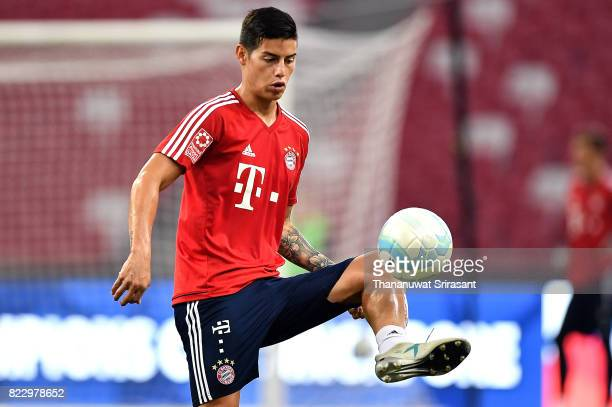 James Rodriguez of FC Bayern Muenchen kicks the ball during a training session of International Champions Cup training session at National Stadium on...