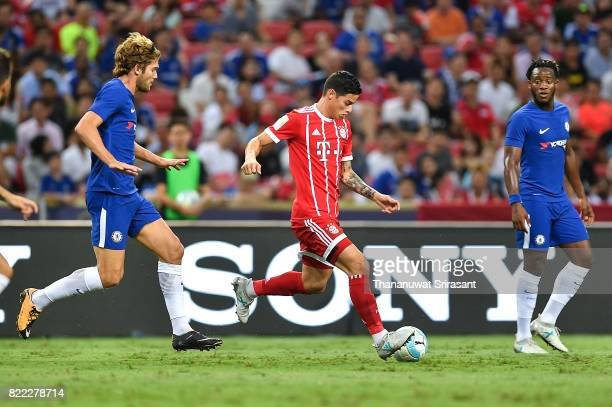 James Rodriguez of FC Bayern Muenchen kicks the ball during the International Champions Cup match between Chelsea FC and FC Bayern Munich at National...