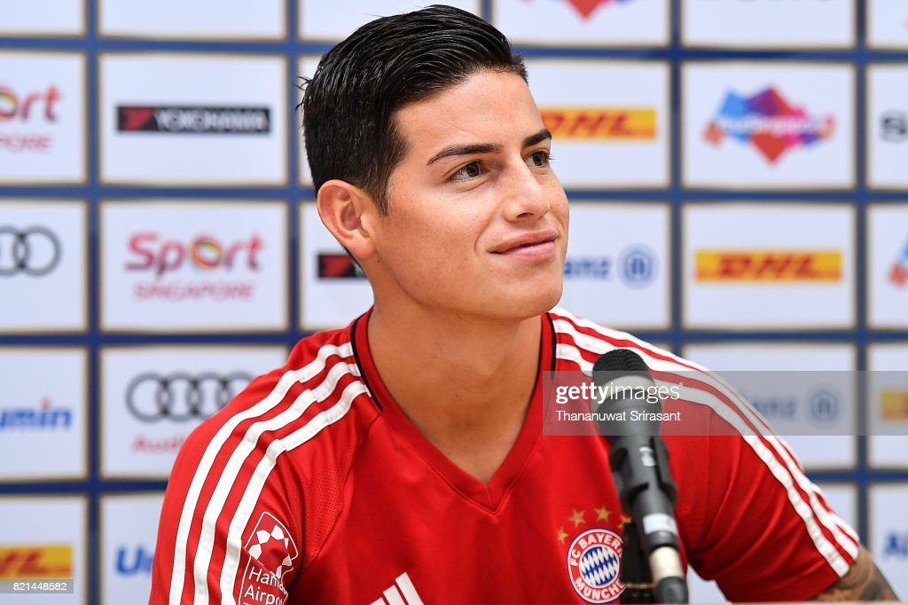 James Rodriguez #11 of FC Bayern Muenchen looks during an International Champions Cup FC Bayern training session at Geylang Field on July 24, 2017 in Singapore.