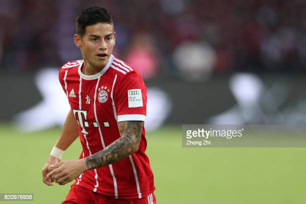 James Rodriguez of FC Bayern Muenchen looks on during the 2017 International Champions Cup football match between AC Milan and FC Bayern Muenchen on...