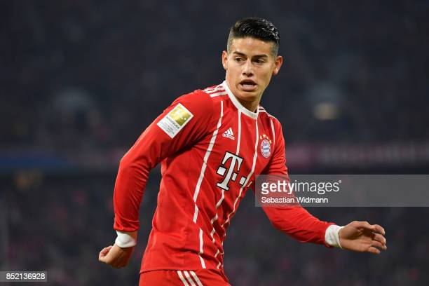 James Rodriguez of FC Bayern Muenchen looks over his shoulder during the Bundesliga match between FC Bayern Muenchen and VfL Wolfsburg at Allianz...