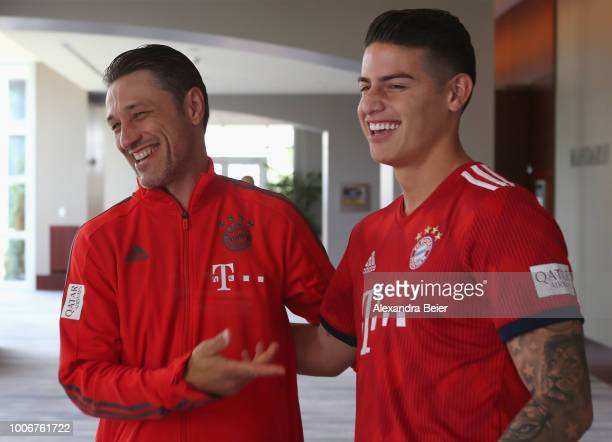 James Rodriguez of FC Bayern Muenchen meets team coach Niko Kovac for the first time during the FC Bayern AUDI Summer Tour on July 27 2018 at...