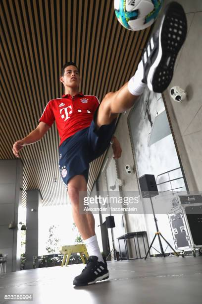 James Rodriguez of FC Bayern Muenchen performes football skills at JW Marriott Singapore South Beach Hotel during the Audi Summer Tour 2017 on July...