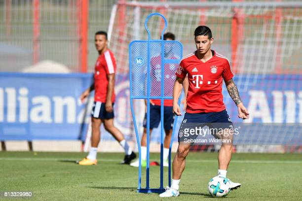 James Rodriguez of FC Bayern Muenchen plays the ball during a training session at Saebener Strasse training ground on July 12 2017 in Munich Germany