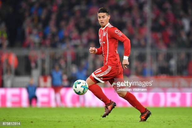 James Rodriguez of FC Bayern Muenchen plays the ball during the Bundesliga match between FC Bayern Muenchen and FC Augsburg at Allianz Arena on...