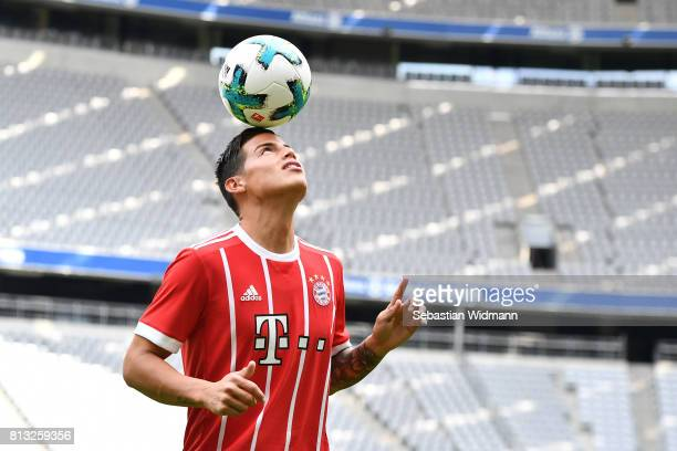 James Rodriguez of FC Bayern Muenchen plays with a ball at Allianz Arena on July 12 2017 in Munich Germany