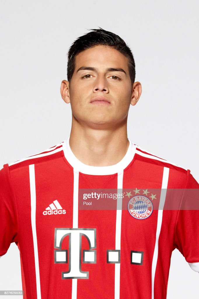James Rodriguez of FC Bayern Muenchen poses during the team presentation at Allianz Arena on August 8, 2017 in Munich, Germany.