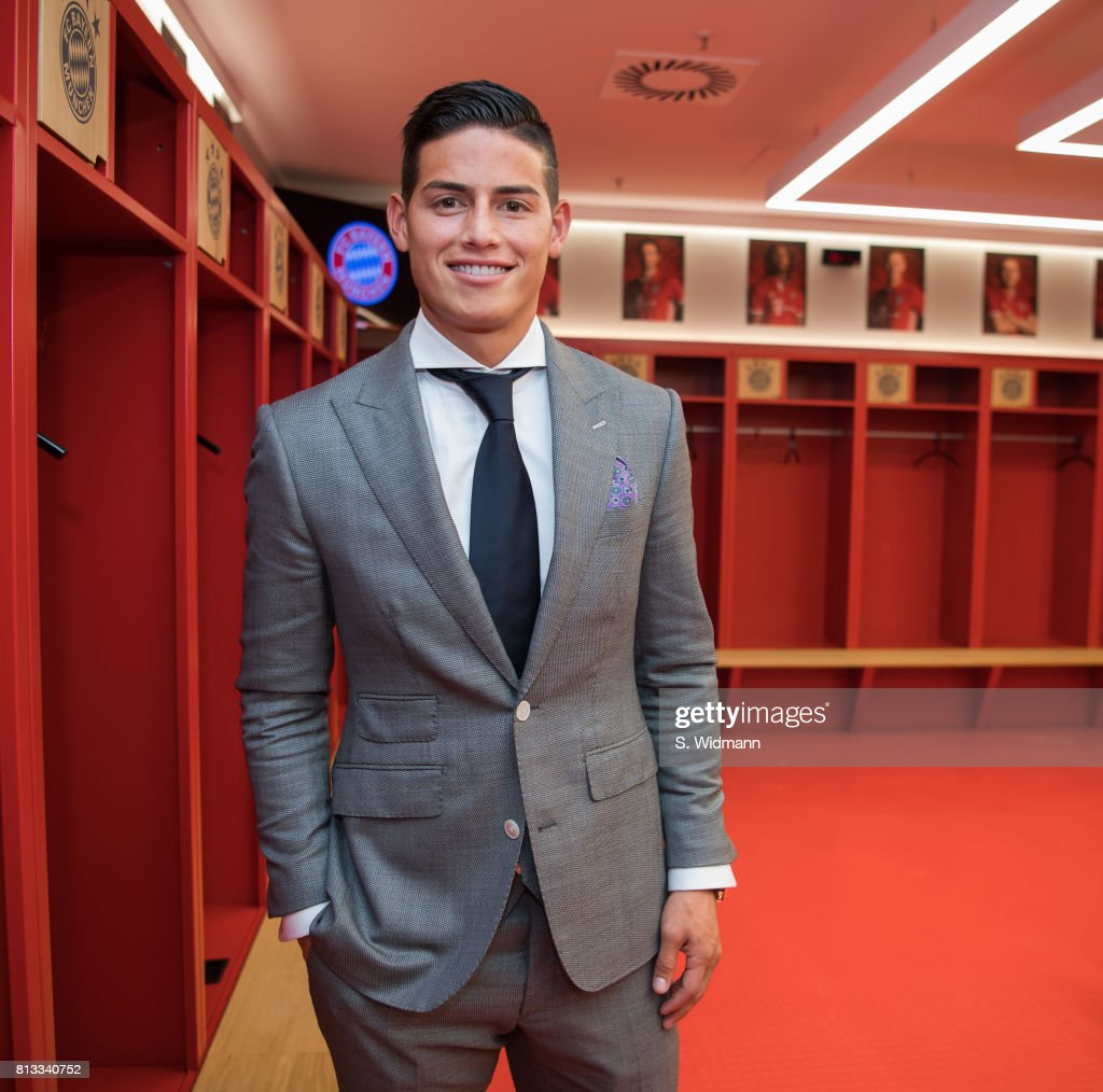 James Rodriguez of FC Bayern Muenchen poses for a picture in the dressing room of the Allianz Arena on July 12, 2017 in Munich, Germany.