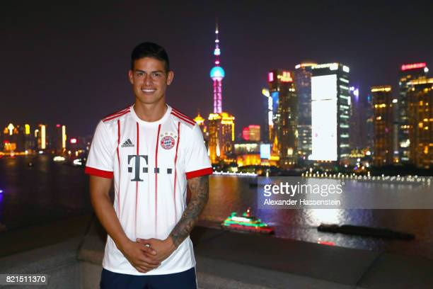 James Rodriguez of FC Bayern Muenchen poses for a picture with the Shanghai Bund in the background during the Audi Night 2017 at Wanda Reign Hotel...