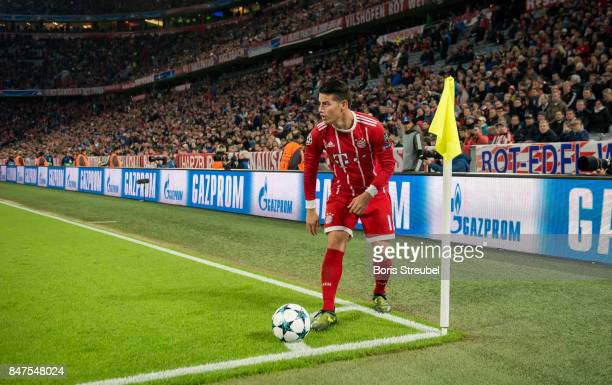 James Rodriguez of FC Bayern Muenchen prepares for a corner kick during the UEFA Champions League group B match between Bayern Muenchen and RSC...
