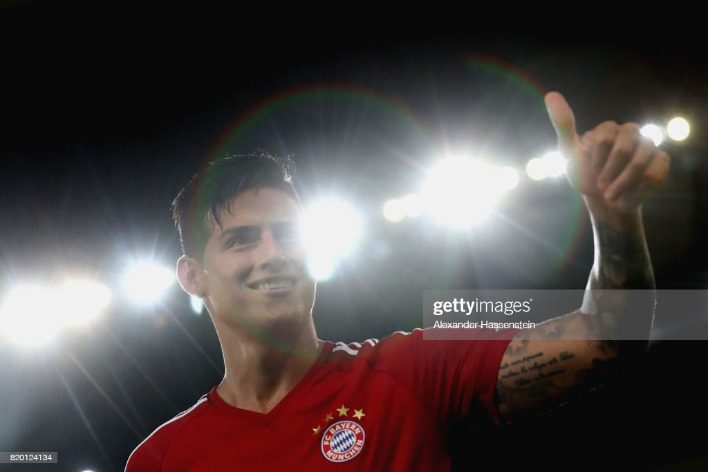 James Rodriguez of FC Bayern Muenchen reacts during a training session at Shenzhen Universiade Sports Centre during the Audi Summer Tour 2017 on July 21, 2017 in Shenzhen, China.