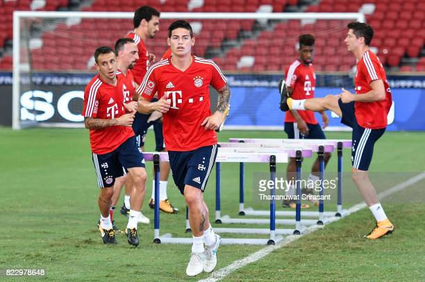 James Rodriguez of FC Bayern Muenchen runs during a training session of International Champions Cup training session at National Stadium on July 26...