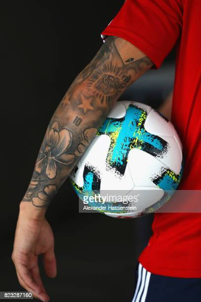 James Rodriguez of FC Bayern Muenchen smiles after performing football skills at JW Marriott Singapore South Beach Hotel during the Audi Summer Tour...