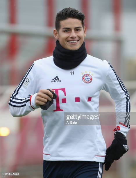 James Rodriguez of FC Bayern Muenchen smiles as he arrives for a training session at the club's Saebener Strasse training ground on February 1 2018...