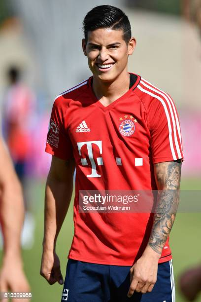 James Rodriguez of FC Bayern Muenchen smiles during a training session at Saebener Strasse training ground on July 12 2017 in Munich Germany