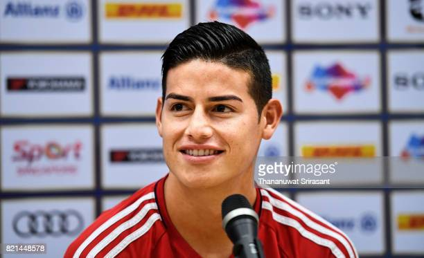 James Rodriguez of FC Bayern Muenchen smiles during an International Champions Cup FC Bayern training session at Geylang Field on July 24 2017 in...