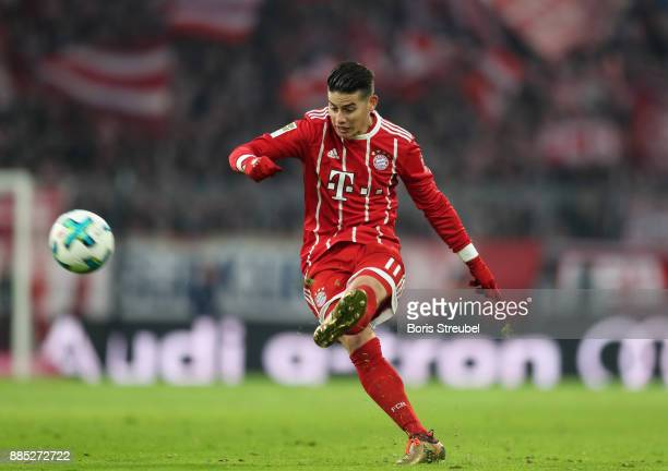 James Rodriguez of FC Bayern Muenchen takes a free kick during the Bundesliga match between FC Bayern Muenchen and Hannover 96 at Allianz Arena on...