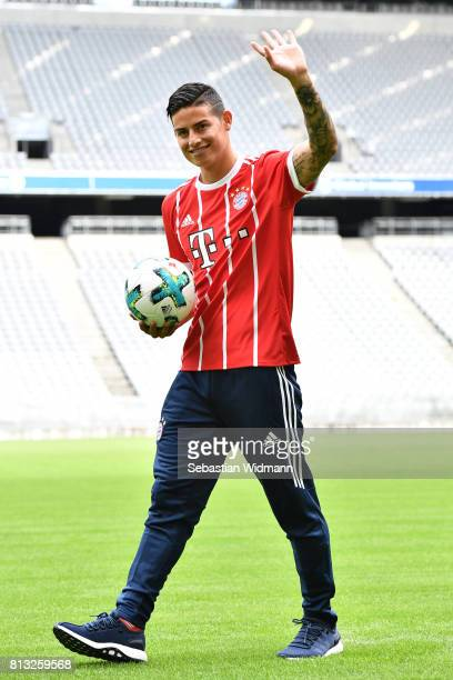 James Rodriguez of FC Bayern Muenchen waves to fans at Allianz Arena on July 12 2017 in Munich Germany