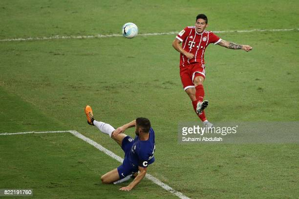 James Rodriguez of FC Bayern Munich shoots at goal during the International Champions Cup match between Chelsea FC and FC Bayern Munich at National...