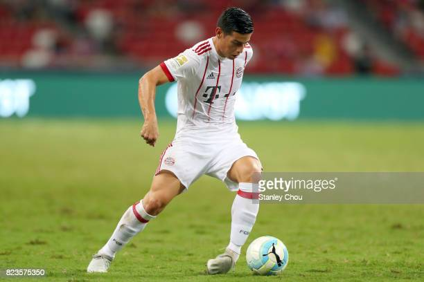 James Rodriguez of FC Bayern runs with the ball during the International Champions Cup match between FC Bayern and FC Internazionale at the National...