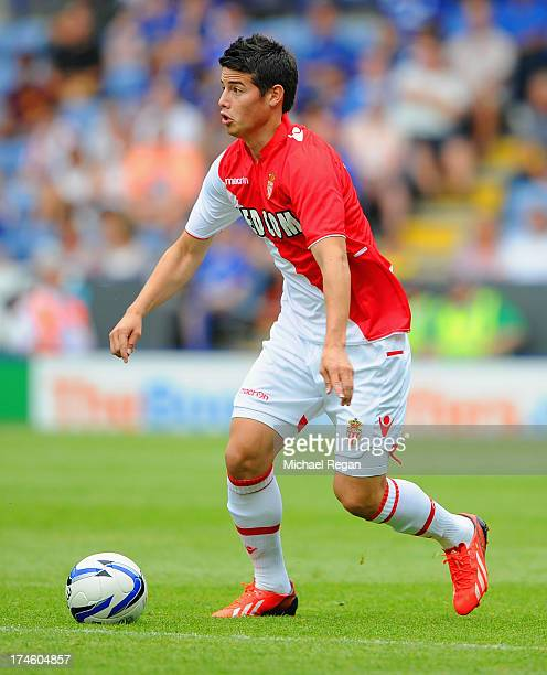 James Rodriguez of Monaco in action during the the pre season friendly match between Leicester City and Monaco at The King Power Stadium on July 27,...