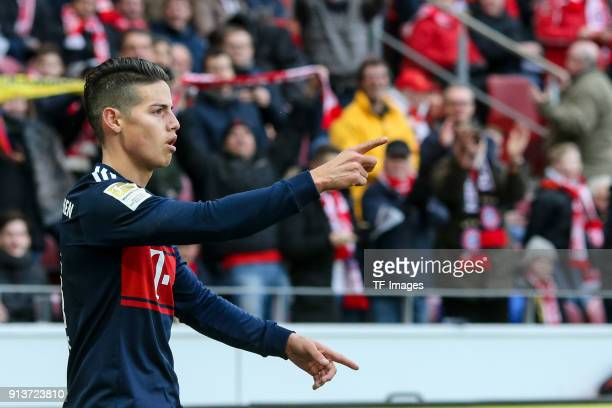 James Rodriguez of Muenchen celebrates after scoring his team`s second goal during the Bundesliga match between 1 FSV Mainz 05 and FC Bayern Muenchen...