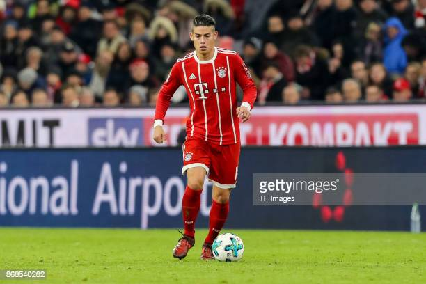 James Rodriguez of Muenchen controls the ball during the Bundesliga match between FC Bayern Muenchen and RB Leipzig at Allianz Arena on October 28...