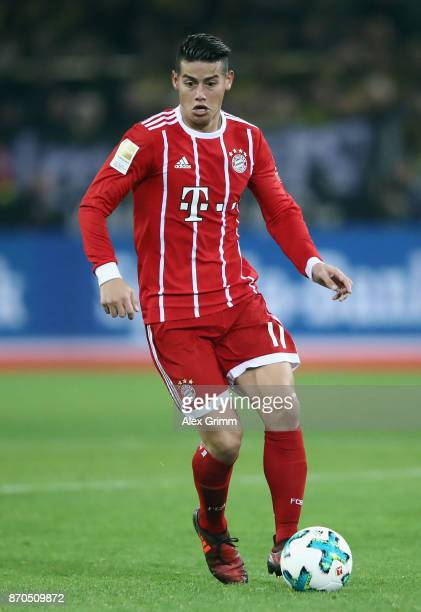 James Rodriguez of Muenchen controls the ball during the Bundesliga match between Borussia Dortmund and FC Bayern Muenchen at Signal Iduna Park on...