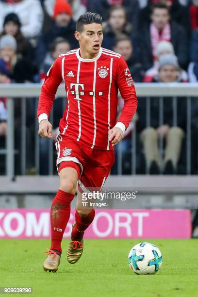 James Rodriguez of Muenchen controls the ball during the Bundesliga match between FC Bayern Muenchen and SV Werder Bremen at Allianz Arena on January...
