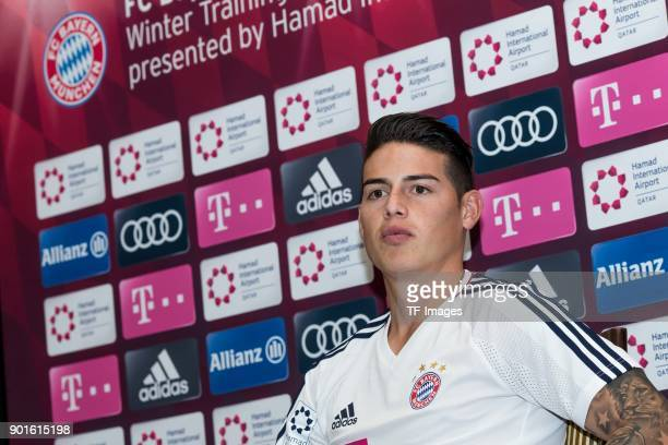 James Rodriguez of Muenchen gives an interview during the FC Bayern Muenchen training camp at Aspire Academy on January 04 2018 in Doha Qatar