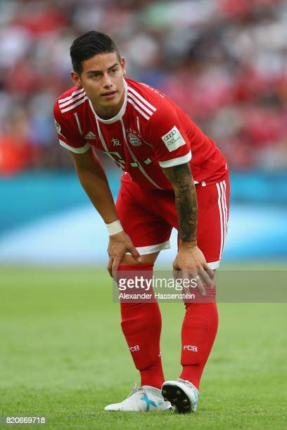 James Rodriguez of Muenchen looks on during the International Champions Cup Shenzen 2017 match between Bayern Muenchen and AC Milan at on July 22...