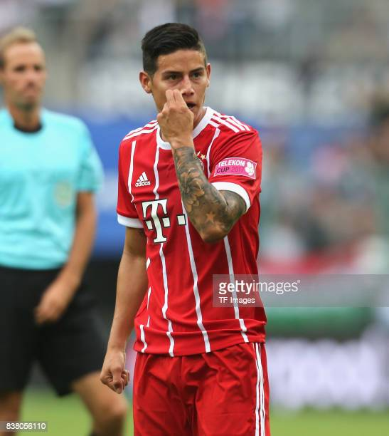 James Rodriguez of Muenchen looks on during the Telekom Cup 2017 Final between SV Werder Bremen and FC Bayern Muenchen at Borussia Park on July 15...