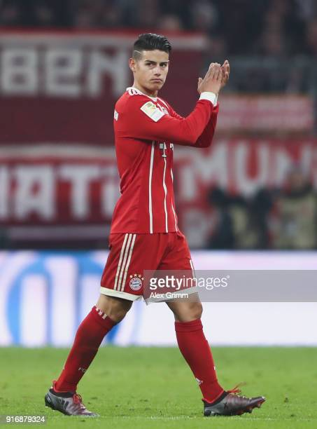 James Rodriguez of Muenchen reacts before being substituted during the Bundesliga match between FC Bayern Muenchen and FC Schalke 04 at Allianz Arena...