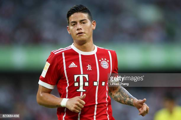 James Rodriguez of Muenchen reacts during the 2017 International Champions Cup China match between FC Bayern and AC Milan at Universiade Sports...
